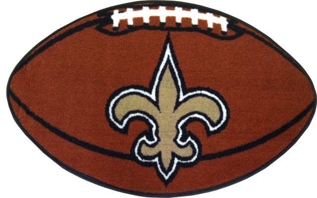 Nfl New Orleans Saints Football Shaped Rug Contemporary Game Room And Bar Decor By Obedding
