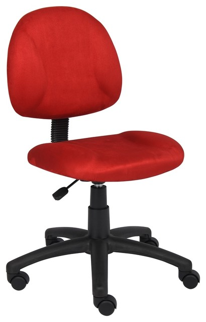 red microfiber deluxe posture chair contemporary office chairs