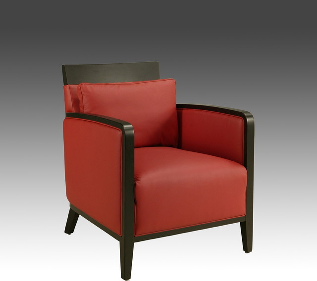 Small Red Leather Accent Chair: Elloise Red Leather Club Chair