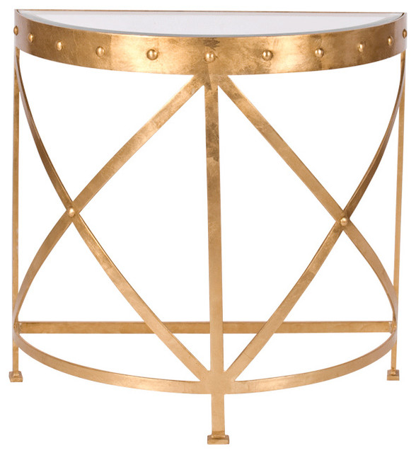 Silver Studded Coffee Table: Worlds Away Half Round Studded Gold Leafed Console Table