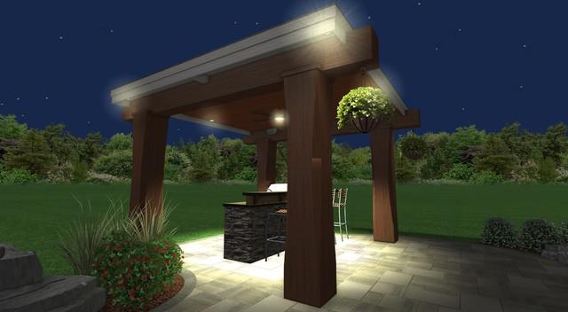 Patio pavilion fire pit bar landscape package for Landscape lighting packages