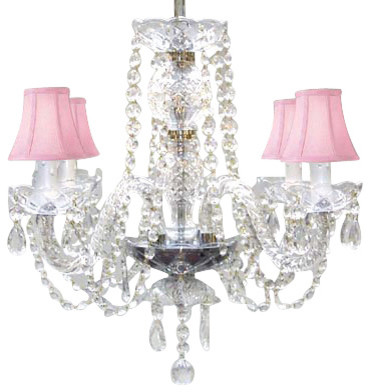 All Crystal Chandelier With Pink Shades Traditional