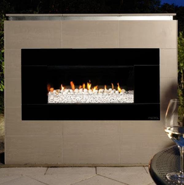 Escea Ef5000 Outdoor Propane Fireplace Black With White Ceramic Stones Modern Indoor