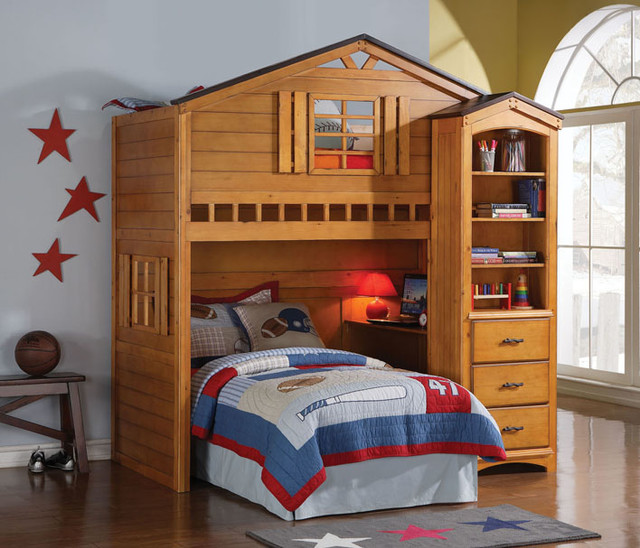 rustic wood house kids twin loft bed with desk rustic