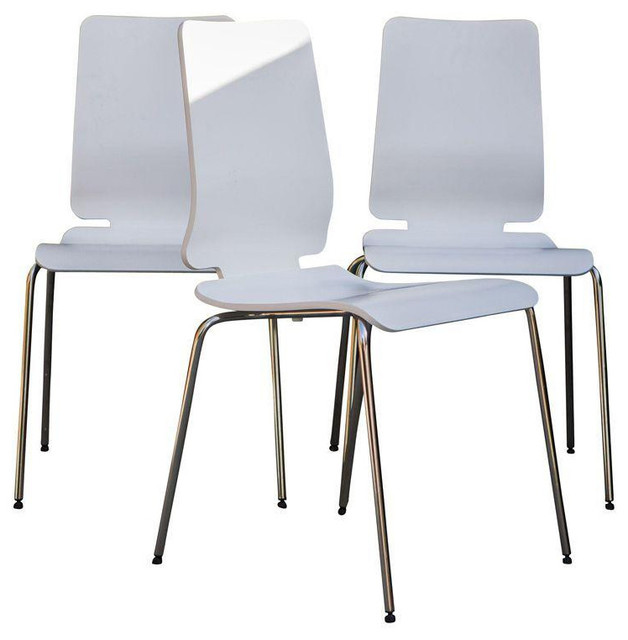 White dining chairs with chrome legs set of 4 for White chrome dining chairs