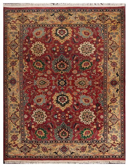 Rugsville Sultanabad Burgundy Gold Wool Rug 10828 10x14