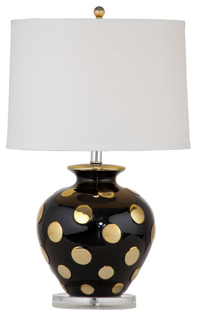 bassett mirror hoxton table lamp black gold ceramic. Black Bedroom Furniture Sets. Home Design Ideas