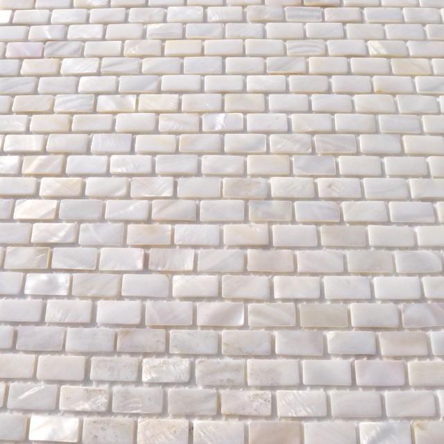 Azulejos Para Baño Lowes:White Mini Brick Oyster Pearl Tile