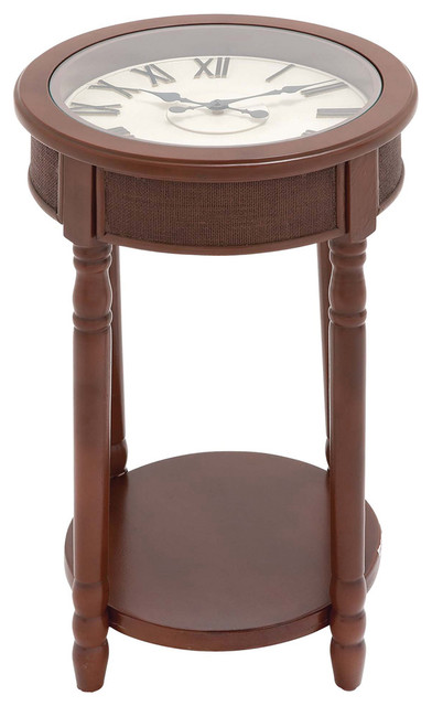 Urban designs 26 round wooden clock accent table brown for Clock coffee table round
