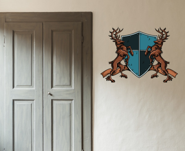 Family crest vinyl wall decal familycrestuscolor005 36 in contemporary wall stickers by - Crest home design curtains ...