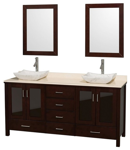 Eco friendly bathroom vanity with ivory marble top - Eco friendly bathroom sinks ...