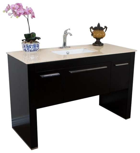 55 3 Single Sink Vanity Black With Marble Top Cream Contemporary Bathroom Vanities And