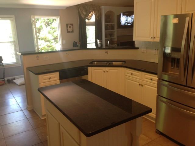 Updating white builder grade kitchen cabinets for Update white kitchen cabinets