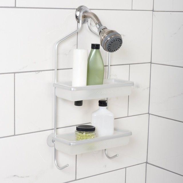Zenna neverrust aluminum frame shower caddy with removable for Bathroom caddies accessories