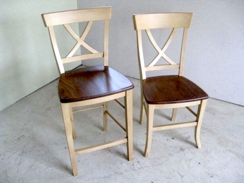 Country Style Cross Back Dining Stool Farmhouse Dining