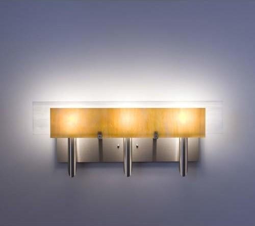 Houzz Bathroom Lighting Fixtures: Dessy Three Toffee/White Flat Back Three-Light Bath