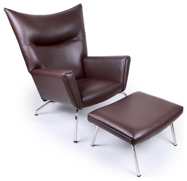 Kardiel Modern Wing Chair And Ottoman Choco Brown Aniline