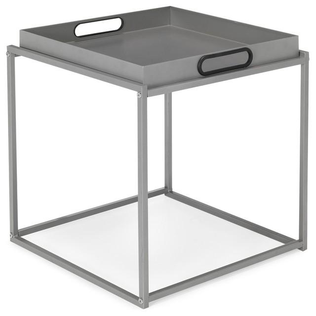 Tela bout de canap en acier gris contemporain table d for Table d appoint pour canape