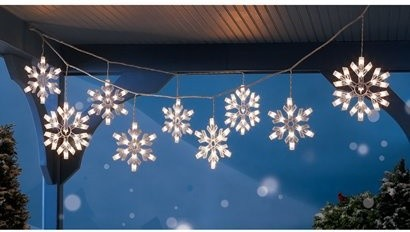 Clear snowflake icicle string lights modern holiday lighting