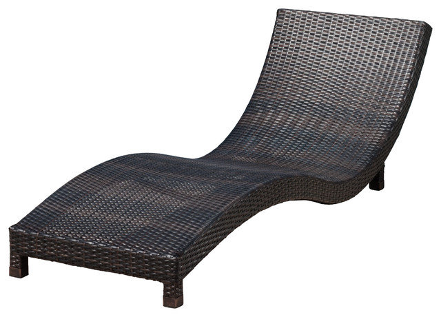 Grecian outdoor brown wicker chaise lounge chair for Brown chaise lounge outdoor