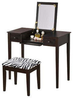 2-Piece Wood Bedroom Make Up Vanity Dressing Table - Contemporary - Bedroom & Makeup Vanities ...