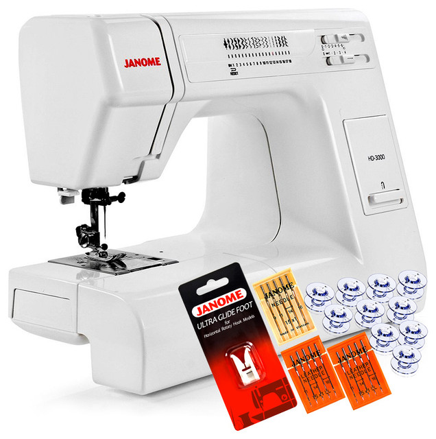Janome hd3000 heavy duty sewing machine 5 piece vip for Janome memory craft 3000