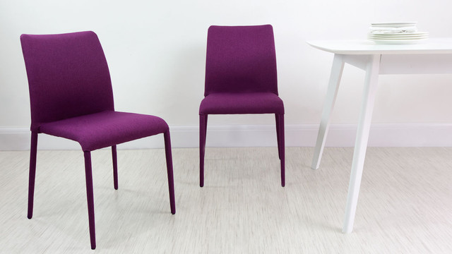 Grape Purple Riva Stackable Fabric Dining Chair Contemporary Dining Chair
