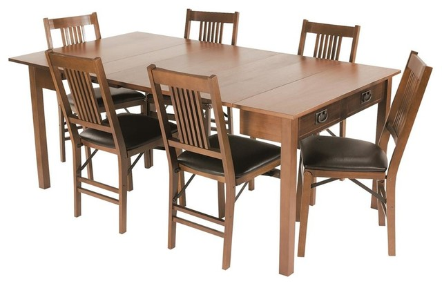 mission style expanding dining table in warm transitional panel