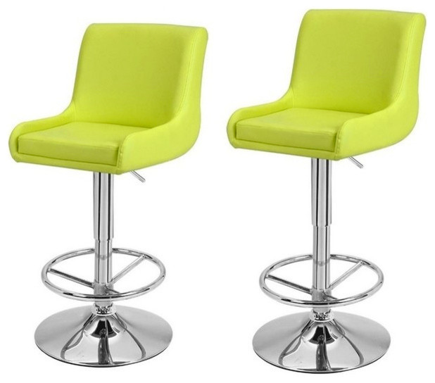 Adeco Height Adjustable Classic Stools Set Of 2 Lime