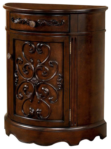 Half-Moon Console Cabinet w Dark Brown Finish - Victorian - Console Tables