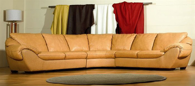 High end curved sectional sofa in leather modern for High end sofas for sale