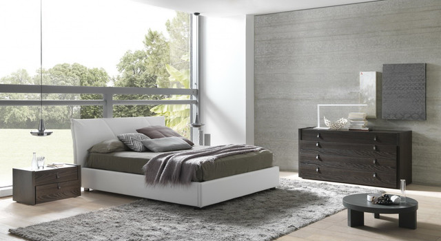 Esprit Modern Eco Leather Bedroom Set In Espresso White Modern Bedroom