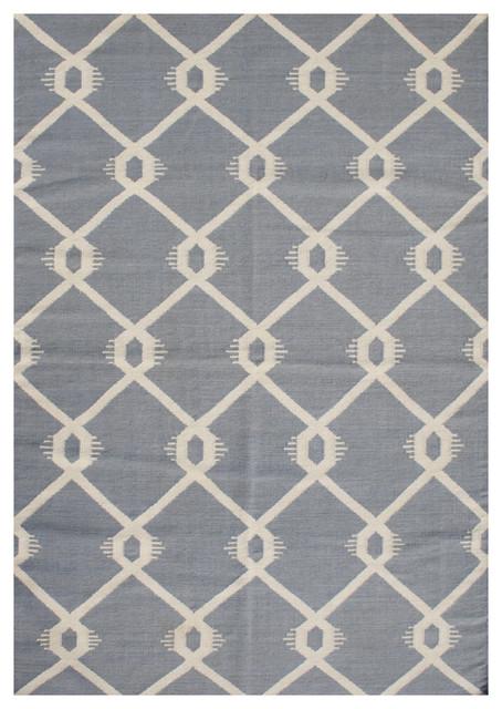 Blueish grey beige geometric rug contemporary area for Geometric area rugs contemporary