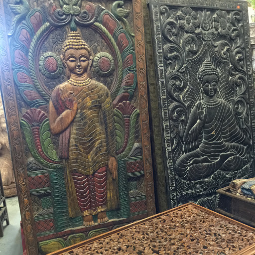 Hand carved buddha panel asian wall decor by mogul