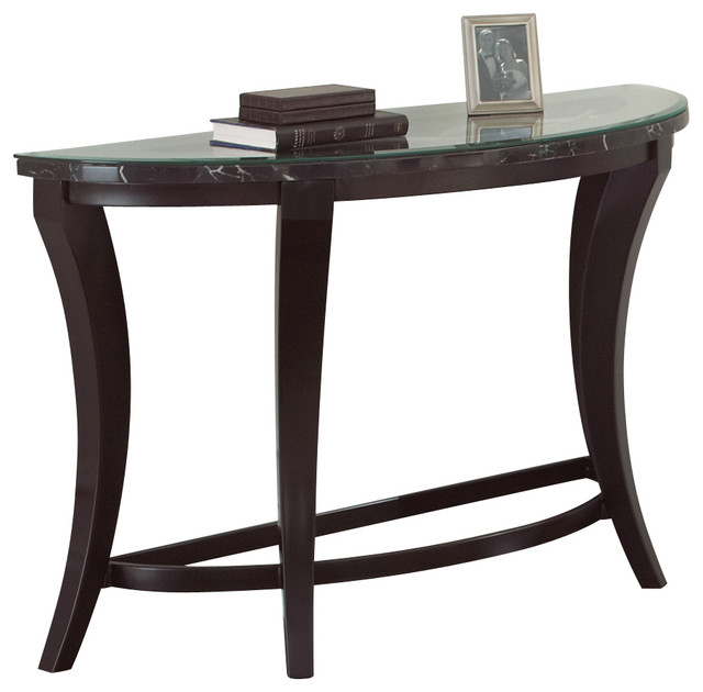 Steve Silver Cayman Sofa Table With Faux Marble And Glass