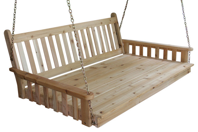 6 39 cedar swing bed traditional english unfinished for Farmhouse porch swing