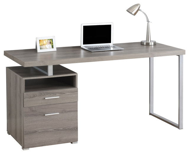 "Computer Desk, 60""L, Dark Taupe, Silver Metal - Desks And Hutches - by"