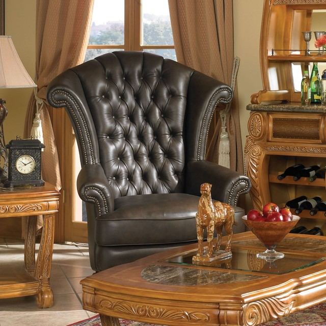 AICO Furniture - Trevi Leather High Back Chair in Brown ...