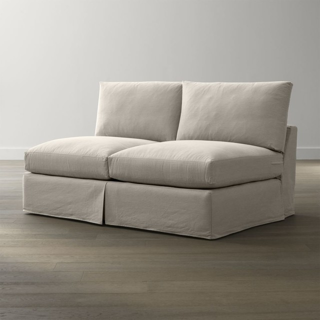 Slipcover only for lounge petite armless loveseat for Armless chaise slipcover