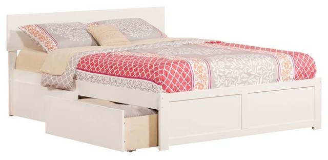 Orlando queen flat panel foot board with 2 urban bed for White divan bed with drawers