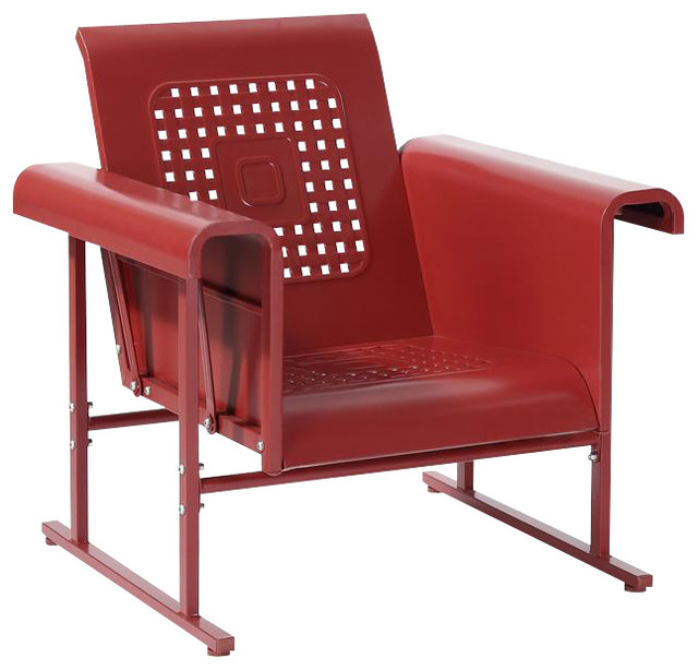 Veranda Single Glider Chair in Coral Red Contemporary Outdoor Gliders b