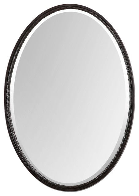 Casalina Oval Iron Mirror With Twisted Rope Frame 22x32