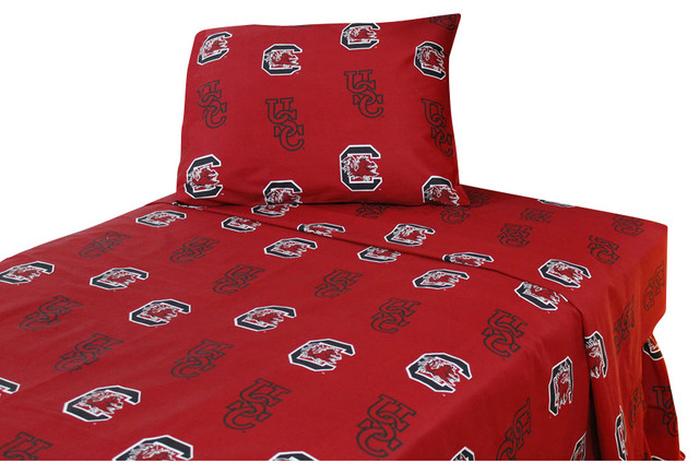 South Carolina Gamecocks Bed Sheets Collegiate Red Bedding