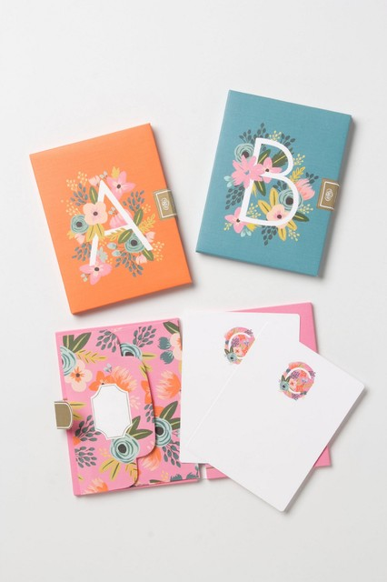 Monogram Note Cards Contemporary Desk Accessories By