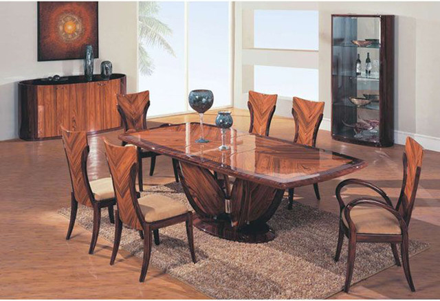 Elegant Wooden Fabric Seats Modern Furniture Table Set Contemporary Dining Tables Newark