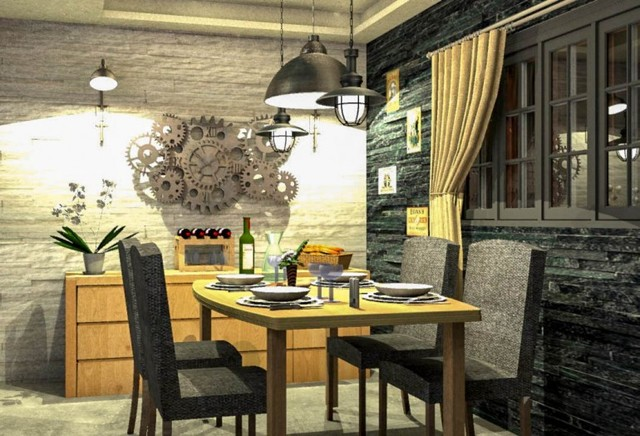 Salle manger brasserie style industriel - Table salle a manger style industriel ...