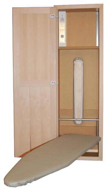 Natural Veneered Wooden Flush Door Design Mdf Living Room: In-Wall Mount Ironing Board With MDF Interior & Maple Door