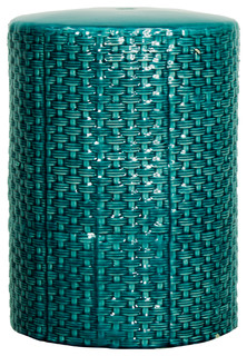 woven garden stool teal contemporary accent and