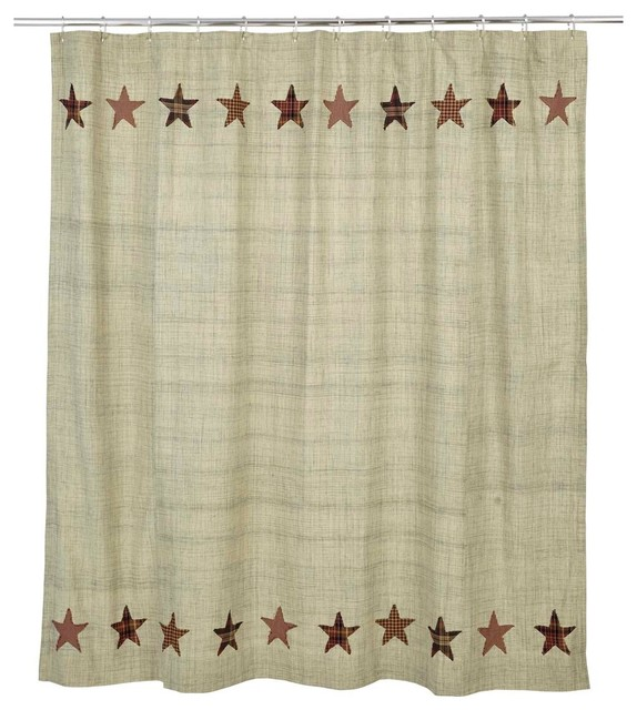 Plaid Star Shower Curtain Rustic Shower Curtains By