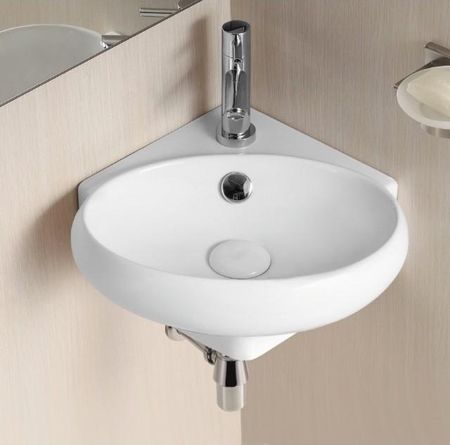 Corner Wall Mounted Oval Shaped Ceramic Bathroom Sink Contemporary Bathroom Sinks